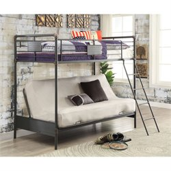 Furniture of America Bryon Twin Bunk Bed and Futon in Antique Black