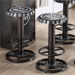 Furniture of America Herfer Bottle Cap Bar Stool in Gunmetal