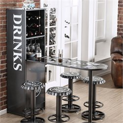 Furniture of America Herfer Convertible Wine Cabinet and Table