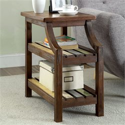 Furniture of America Sheldon End Table in Brown Cherry