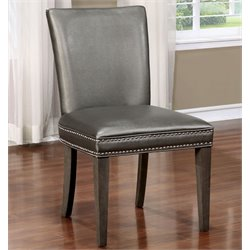 Furniture of America Deskent Side Chair in Gray (Set of 2)