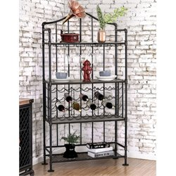 Furniture of America Flora Industrial Wine Rack in Antique Black