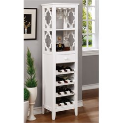 Furniture of America Debarge Wine Cabinet in White