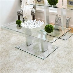 Furniture of America Carina Glass Coffee Table in Silver
