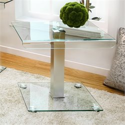 Furniture of America Carina Glass End Table in Silver
