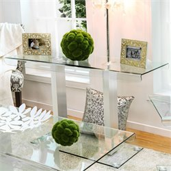 Furniture of America Carina Glass Console Table in Silver