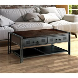 Furniture of America Amado Industrial Coffee Table in Gray Silver