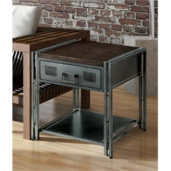 Furniture of America Amado Industrial End Table in Gray Silver
