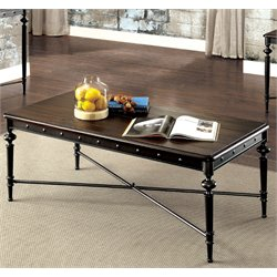 Furniture of America Glynis Industrial Coffee Table in Matte Dark Gray