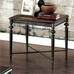 Furniture of America Glynis Industrial End Table in Matte Dark Gray