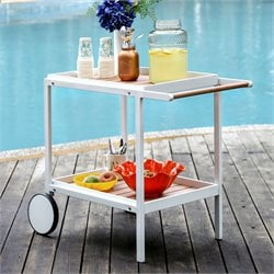 Furniture of America Sondra Patio Serving Cart in White