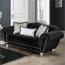 Furniture of America Beula Black Loveseat in Black