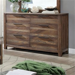 Furniture of America Karon Rustic 6 Drawer Dresser in Rustic Natural