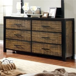 Furniture of America Rosendo 6 Drawer Dresser in Black and Oak