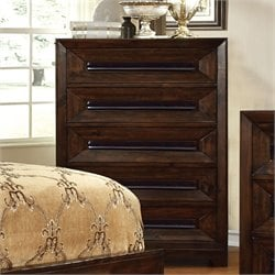 Furniture of America Kerstin 5 Drawer Chest in Walnut