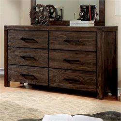 Furniture of America Alvaro Rustic 6 Drawer Dresser in Dark Gray