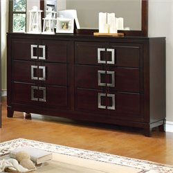 Furniture of America Shanda 6 Drawer Dresser in Brown Cherry