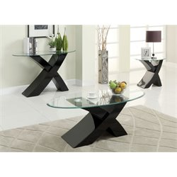 Furniture of America Remington 3 Piece Coffee Table Set in Black
