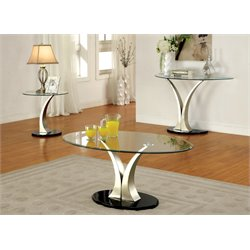 Furniture of America Mansa 2 Piece Glass-Top Table Set in Satin Plated
