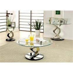 Furniture of America Marisa 3 Piece Coffee Table Set in Satin Plated