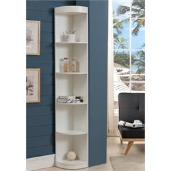 Furniture of America Maleena 5 Shelf Corner Bookcase in White