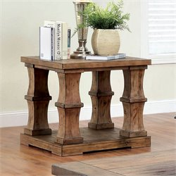 Furniture of America Belassio Wood Panel End Table in Natural Tone