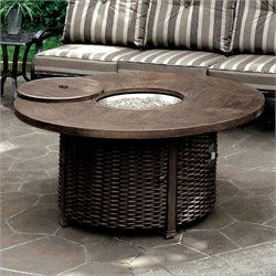 Furniture of America Nanette Outdoor Patio Fire Pit Table in Brown