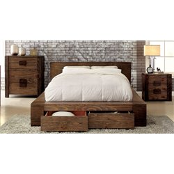 Elbert 3 Piece Bedroom Set in Rustic natural tone 7629