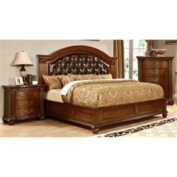 Sorella 3 Piece Bedroom Set in Cherry 7735 (Tufted HB)