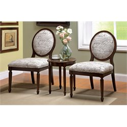 Furniture of America Fehr 3 Piece Script Accent Chair and Table Set