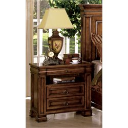 Furniture of America Conway 3 Drawer Nightstand in Tobacco Oak