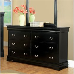 Furniture of America Easley 6 Drawer Dresser in Black