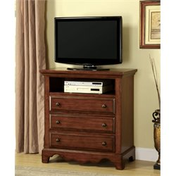 Furniture of America Fletcher 3 Drawer Media Chest in Light Walnut