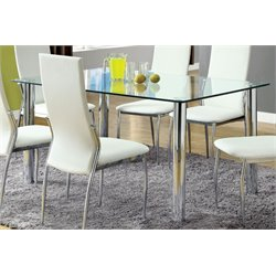 Furniture of America Gera Glass Top Dining Table in Chrome