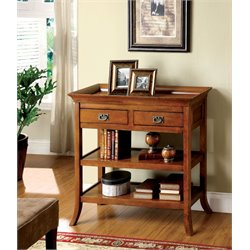 Furniture of America Carroway 2 Drawer End Table in Medium Oak