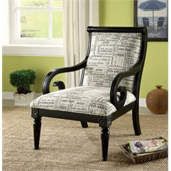 Furniture of America Magnus Script Print Accent Chair in Black