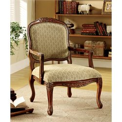 Furniture of America Sicilia Accent Chair in Antique Oak