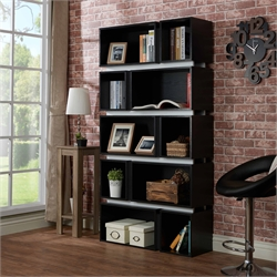 Furniture of America Bautista 10 Shelf Bookcase in Black and White