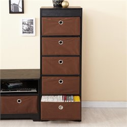 Furniture of America Portola 5 Shelf Chest in Espresso and Black