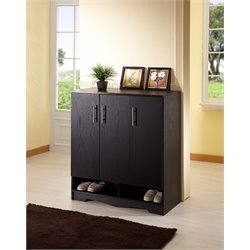 Furniture of America Cornesen 9 Shelf Cabinet in Black