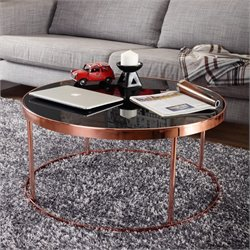 Furniture of America Vida Round Coffee Table in Rose Gold