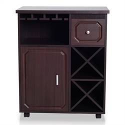 Furniture of America Wine Rack Kitchen Cart in Espresso