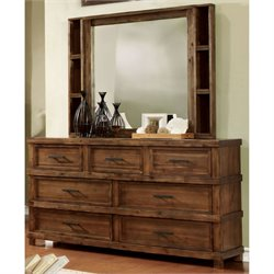 Furniture of America Cynthia Dresser and Mirror in Oak