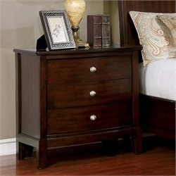 Furniture of America Monaco 3 Drawer Nightstand in Brown Cherry
