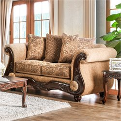 Furniture of America Rhodes Traditional Loveseat in Gold and Bronze
