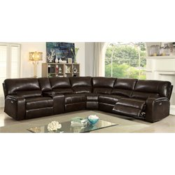 Furniture of America Josette Transitional Reclining Sectional in Brown