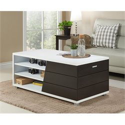 Furniture of America Traver Modern Coffee Table in White and Espresso