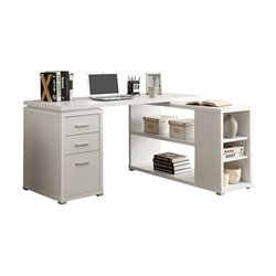 Trent Home Aria L Shaped Computer Desk in White