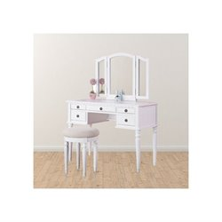 Trent Home Blanche Vanity Set with Stool in White