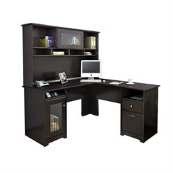Trent Home Highcroft L Shaped Computer Desk with Hutch in Espresso Oak
